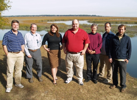The research team at Groves Creek (l-r) Clark Alexander, Jack Blanton, Catherine Edwards, Jay Brandes, Dana Savidge, Bill Savidge, Aron Stubbins